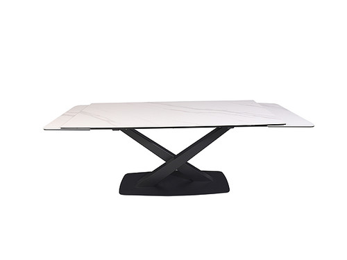 Artemis Extension Dining Table in White Moonstone