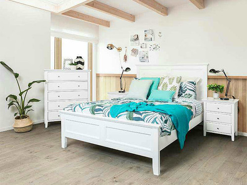 Ballina Queen Bed in White