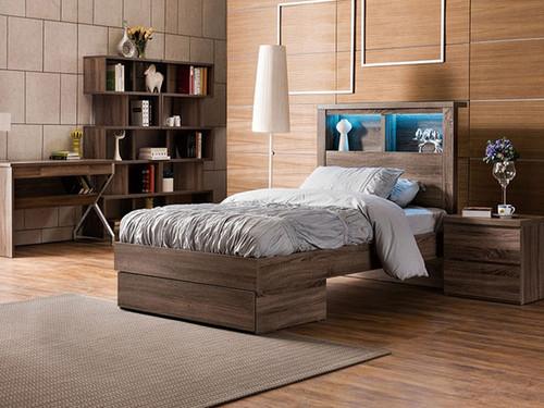Bali King Single Bed with End Drawer Mocha Oak