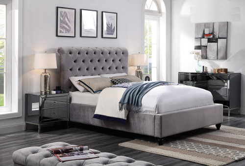 Frederic Queen Bed In Silver with Legs