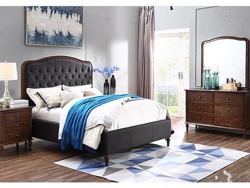 Jasmine Queen Bed in Charcoal with Legs