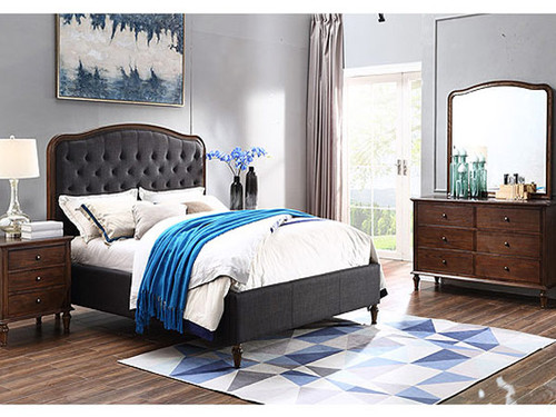 Jasmine King Bed in Charcoal with Legs
