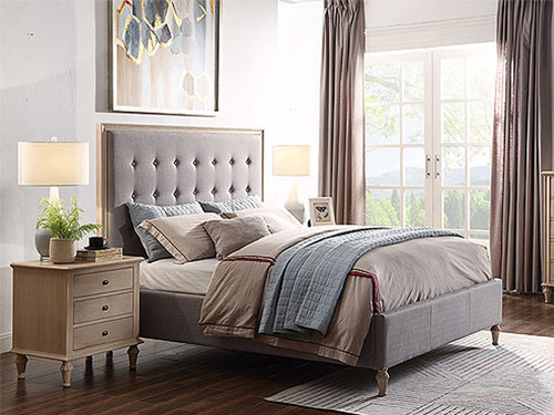 Webster Queen Bed in Light Grey with Legs