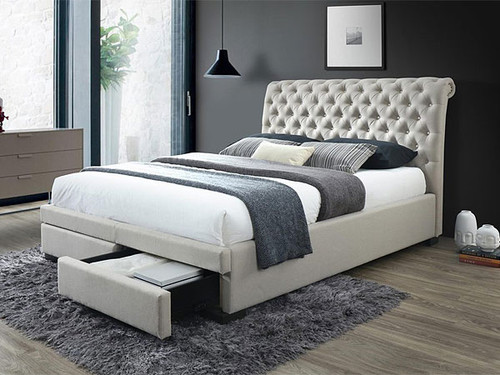 Crystal King Bed with Storage Drawers in Light Beige