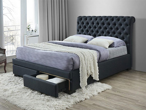 Crystal Queen  Bed with Storage Drawers in Dark Grey