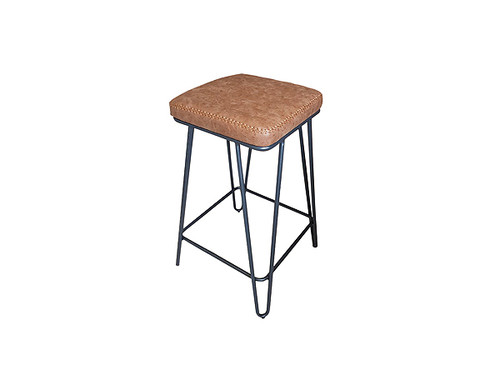 Aloft Vintage PU Upholstered Bar Stool in Tan