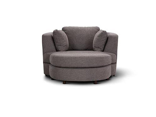 Orlando Swivel Chair with Ottoman Grey