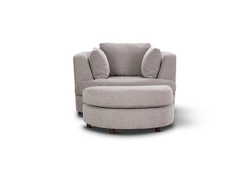 Orlando Swivel Chair with Ottoman Steel