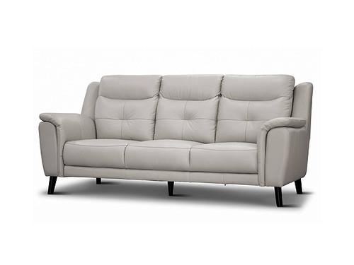 Georgia 3 Seater Leather Lounge Silver