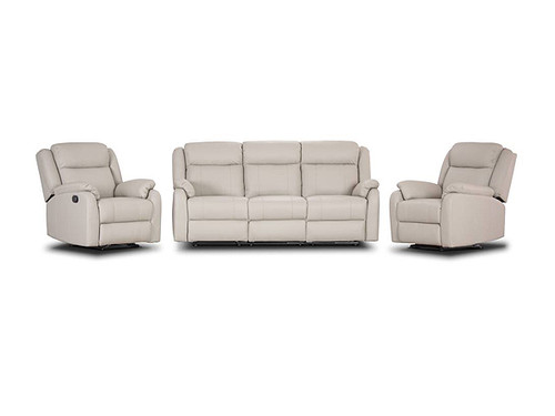 Paramount Leather Manual Recliner Suite In Light Grey