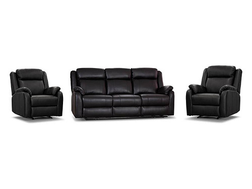 Paramount Leather Electric Recliner Suite in Black
