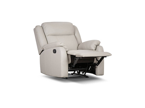 Paramount Leather Electric Recliner in Light Grey