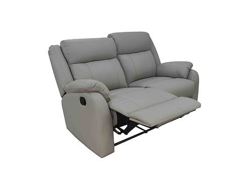 Paramount Leather 2 Seater with End Recliners in Light Grey