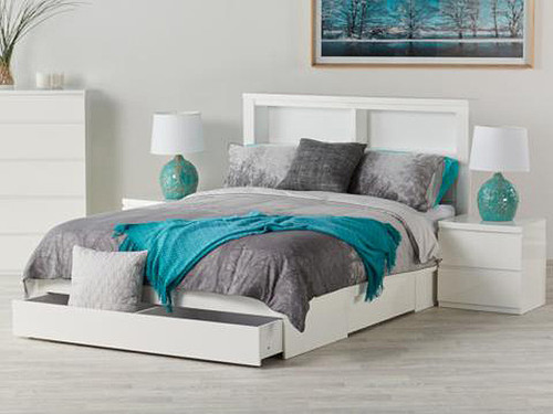 Bali Double Bed in Gloss White