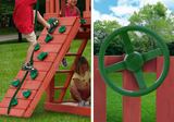 Climbing Rock Wall and Steering Wheel both featured on the Nantucket II from Gorilla Playsets