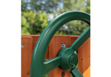 Close up view of steering wheel with four spokes from Gorilla Playsets.