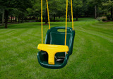 Lifestyle shot of green infant swing by Gorilla Playsets.