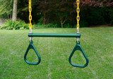 Outdoor view of Green Trapeze Swing from Gorilla Playsets