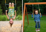 Kids get to have a swinging good time on the Wilderness Retreat play set with the Trapeze Bar or two Swing Belts.