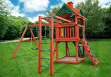 Outdoor rear shot of Five Star II Playset w/ Monkey Bars from Gorilla Playsets