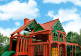 Close up of play deck on the Five Star II Deluxe Swing Set from Gorilla Playsets