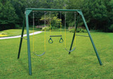 Lifestyle shot of Roundabout Swing Set from Gorilla Playsets.