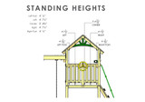 Wood Roof Standing Heights View of Outing IV w/ Trapeze Bar Playset from Gorilla Playsets