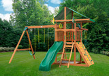 Outdoor shot of Outing IV w/ Trapeze Bar Playset from Gorilla Playsets