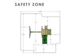 Overhead Safety Zone View of Outing IV w/ Trapeze Bar Playset from Gorilla Playsets