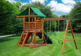 Rear outdoor shot of Outing IV w/ Dual Slide Playset from Gorilla Playsets
