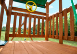 Close up shot of Outing IV Playset w/ Monkey Bar's Deck and Steering Wheel from Gorilla Playsets