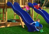 Lifestyle shot of Blue Super Wave Scoop Slide from Gorilla Playsets