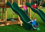 Lifestyle shot of Green Super Wave Scoop Slide from Gorilla Playsets