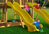 Lifestyle shot of Yellow Super Wave Scoop Slide from Gorilla Playsets