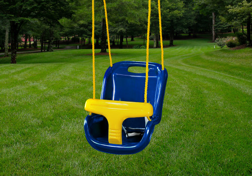 Lifestyle shot of blue infant swing by Gorilla Playsets.