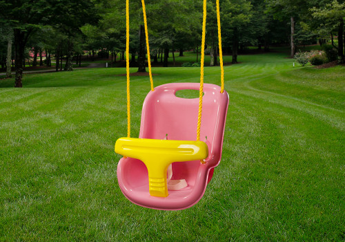 Lifestyle shot of pink infant swing by Gorilla Playsets.