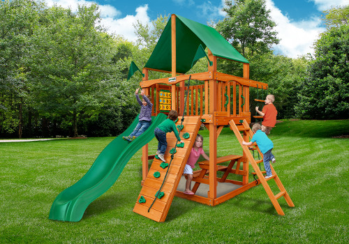 Outdoor shot of Chateau Tower Playset from Gorilla Playsets