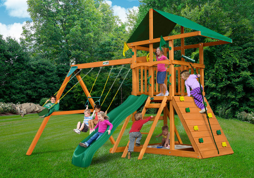 Outdoor shot of Outing III Playset from Gorilla Playsets