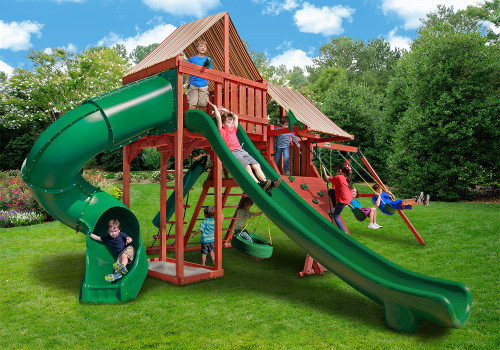Outdoor shot  of Sun Climber Deluxe Playset from Gorilla Playsets