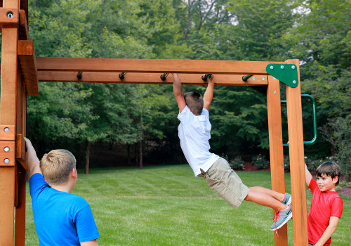 Lifestyle shot of Monkey Bars Add-On from Gorilla Playsets.