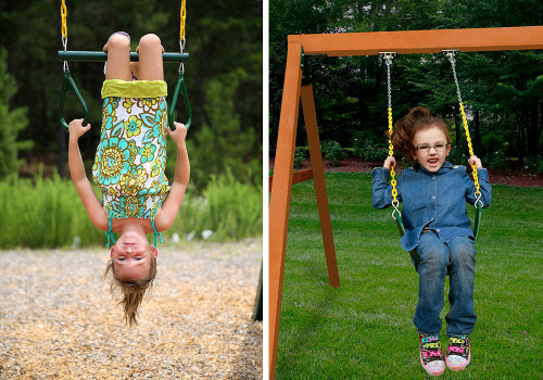 Kids can keep on swinging for hours on the Wilderness Gym's Trapeze Trapeze Bar or two Swing Belts.