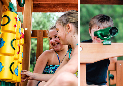 The Tic Tac Toe Panel and Telescope bring the fun and games to your kids on the Wilderness Retreat swing set.