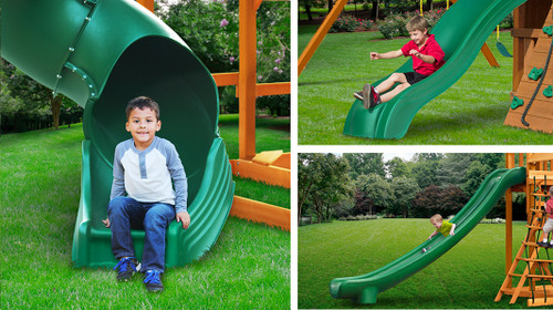 The Wilderness Retreat features the Alpine Wave Slide, Super Scoop Slide and the Radical Ride Tube Slide™ for triple the sliding options.