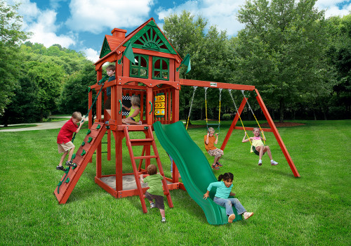 Outdoor shot of Five Star II Swing Set from Gorilla Playsets