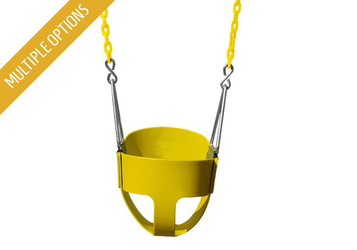 Image of Full Bucket Toddler Swing in yellow sold by Gorilla Playsets. Multiple colors available.