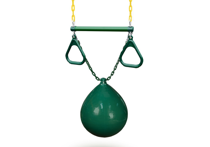 Green buoy ball with trapeze swing from Gorilla Playsets.