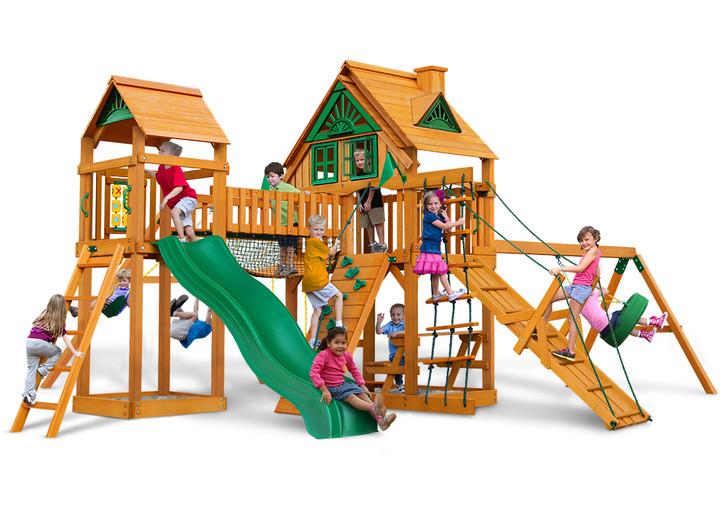 Studio shot  of Pioneer Peak wood swing set from Gorilla Playsets