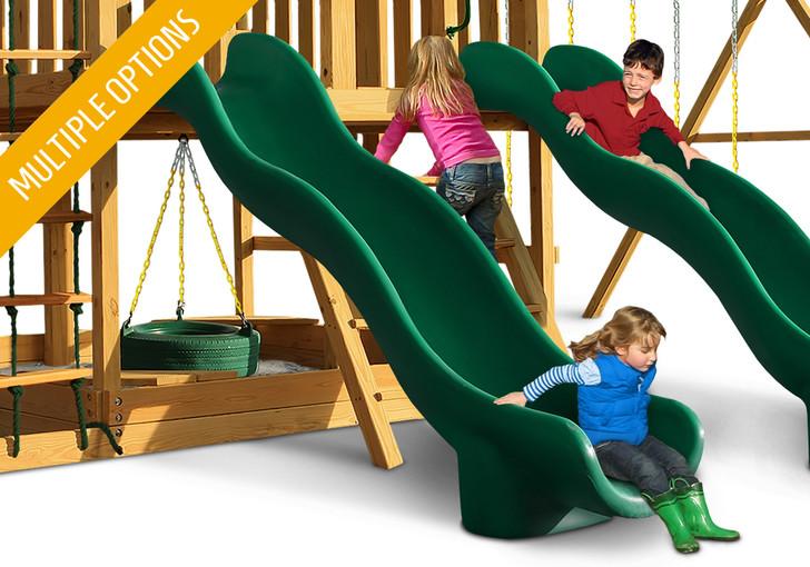 Studio shot of Green Super Wave Scoop Slide from Gorilla Playsets