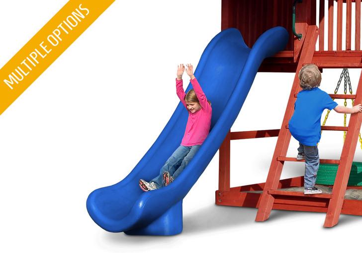 Studio shot of blue Super Scoop Slide from Gorilla Playsets