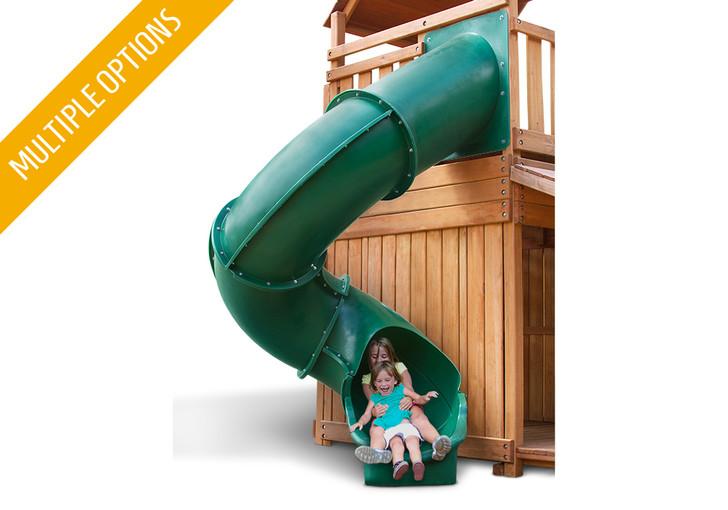 Studio shot of Green Super Tube Slide from Gorilla Playsets